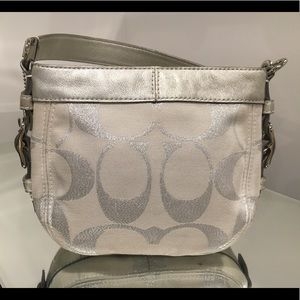 COACH ZOE SILVER LUREX SIGNATURE LEATHER HANDBAG